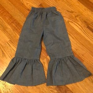 Other - Chambray Ruffle Hem Flare Pants. Toddler 2-3